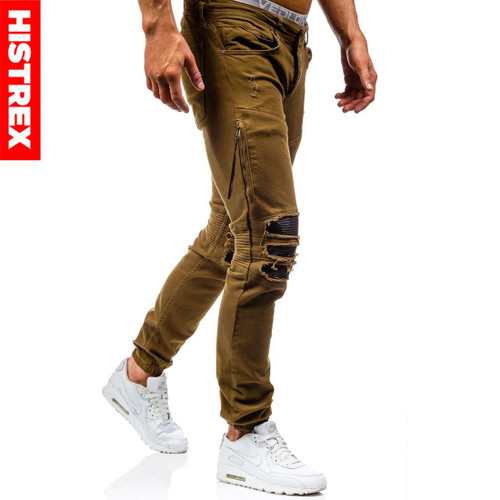 HISTREX 2018 Mens Jeans Brown Coffee Khaki Jean Destroyed Slim Denim Straight Biker Skinny Hiphop Ripped Motorcycle Pant HJ0ZTX#