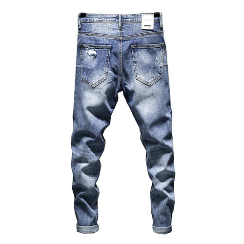 KSTUN Skinny Stretch Jeans Men Summer Biker Moto High Street Contrast Color Blue Male Ripped Jeans Distressed Tapered Slim Leg