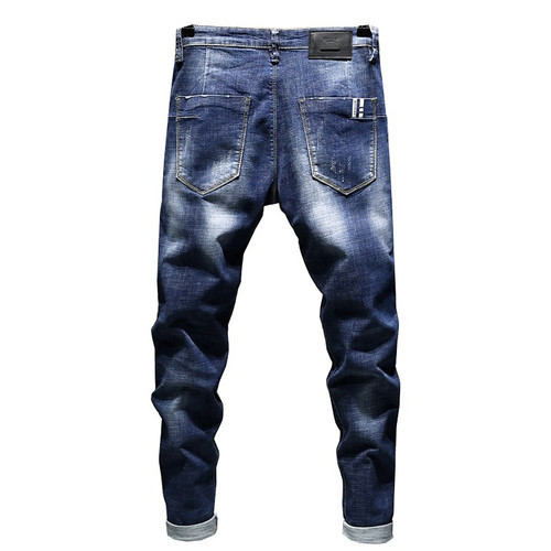 KSTUN Jeans Men 2018 Brand Summer Stretch Biker Ripped Rock Pants Blue Slim Fit Tapered Torn Distressed Students Joggers roupas