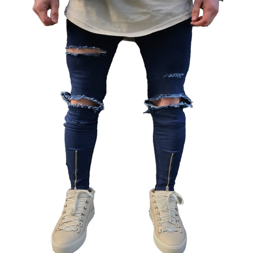 QoolXCWear new Jeans Hole Jogger Skinny Jeans Men Biker Jeans Pencil Pant Mens Zipper Ripped Jeans  Men