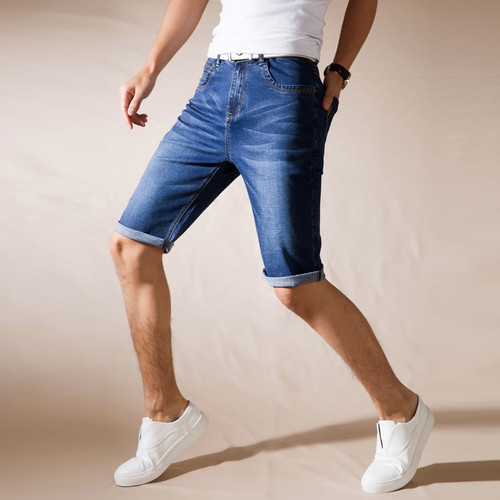 2018new Summer Stretch Thin high quality cotton Denim Jeans male Short Men blue black Soft fashion casual Shorts Pants Plus Size