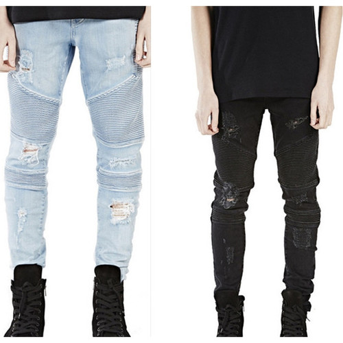 Men Biker Jeans Pants Fashion Hole Hip Hop Denim Stretch Jeans US Size