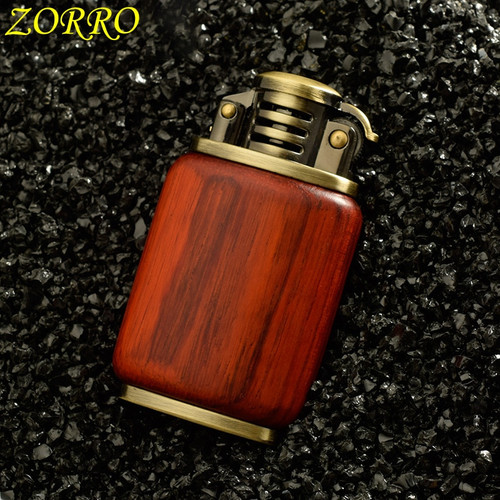 Zorro Petrol Lighter Gasoline Wooden Made Material Kerosene Cigarette Lighter  Oil Petrol Refillable
