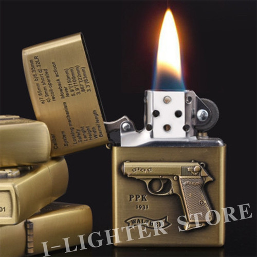 1piece Carving Spray Gun Torch Flame Cigarette Lighter Retro Metal Refillable Kerosene Oil Cigar Lighter Gift For Military Fans