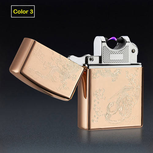 Single Arc Windproof Metal Cigarette Plasma Flameless Cigar Lighter USB Lighter Electronic Cigarette Lighter Pulsed Arc Lighter