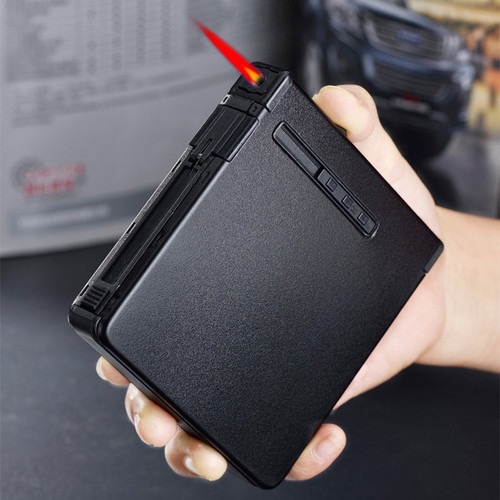 Safe Creative large-capacity multi-function automatic metal cigarette box with windproof lighter 20 pcs Cigarette Holder Case