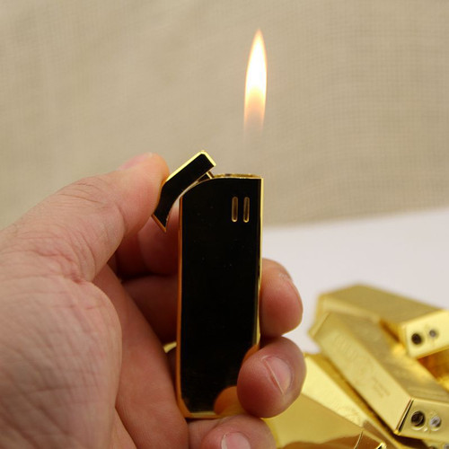 Luxury Compact Gold Bullion Jet Lighter Refillable Butane Gas Cigarette Lighter Metal Kerosene Oil Lighter Smoking Tool For Men