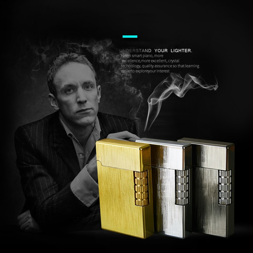 Ping Sound Cigarette Lighter For Smoking Gas Lighter Inflatable Flint Fire Lighter With Flame