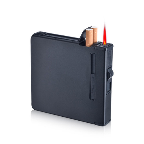 (20 Cigarette ) Fashion Frosted Multifunction Cigarette Case Cigar Box Windproof Inflatable Gas Lighter Smoker Men Gift NO GAS