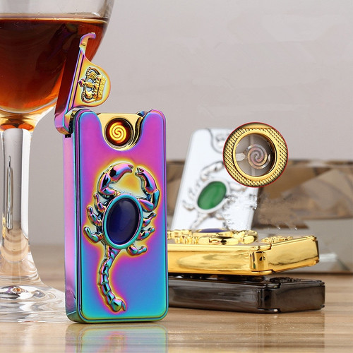 Luxury USB Electronic Lighter Rechargeable Flameless Lighter Metal Windproof Cigarette Lighter Scorpion Plasma Lighter Gadgets