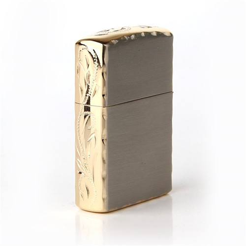 Free shipping Cigarette Accessories Genuine Zorro kerosene lighter Copper material Flowers on the edge oil lighter