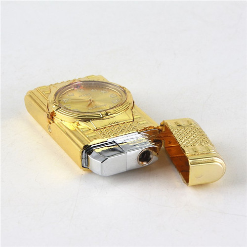 Cigarette accessories Senior gift Butane gas lighter Sports car shape Colored lights flashing Clock Windproof lighter