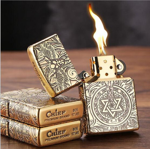 CHIEF guardian angel, kerosene lighter, creative personality, old-fashioned grinding wheel lighter gift package