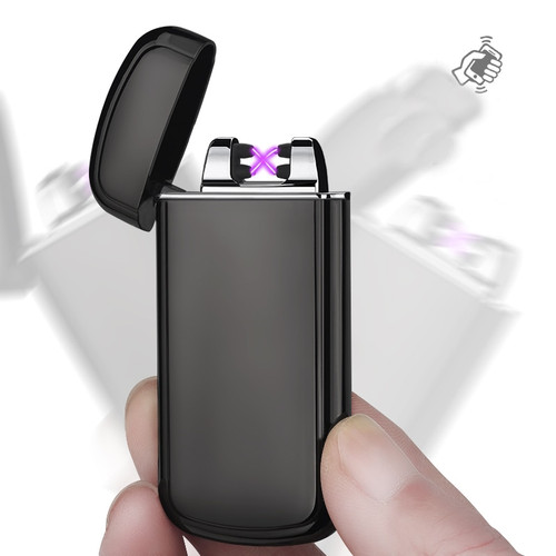 Metal Relief Design Shake Induction Electric Double Arc Lighters Environmental Protection USB Charging Windproof Lighter