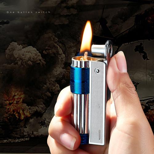 Old Gasoline Lighter Genuine Stainless Steel Cigarette Windproof Oil Lighter Cigar Fire Tobacco Petrol Lighters