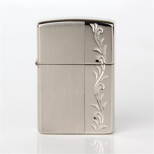 2018 new oil lighter Silver color Hand carved vine pattern Metal Copper material kerosene lighters Z8425