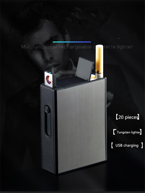Brand New Ciagrette Holder Box Case USB Electronic Lighter Flameless Windproof Tobacco Cigarette Case Lighter