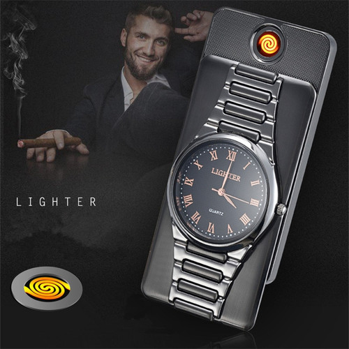 2018 classic watch  windproof electronic lighter usb charge thin cigarette lighters male
