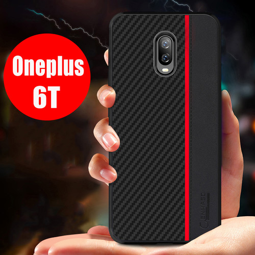 Oneplus 6T Case Cover Original CENMASO Carbon Fiber PU Leather Full Protection Cover One Plus 6T 1+6T Case Oneplus 6T Back Cover