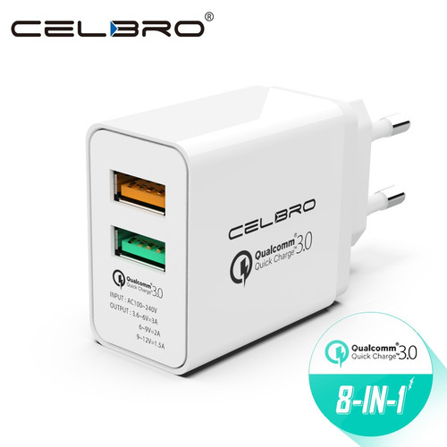 Usb Charger Wall Adapter Quick Charge 3.0 2 Port Dual Usb Fast Charger Eu Plug Travel Qualcomm Qc3.0 Charging For Mobile Phone