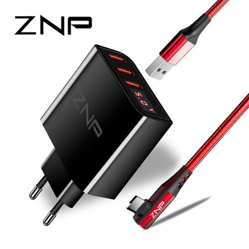 LED Display 3 4 USB Charger, ZNP Universal Mobile Phone USB Charger Fast Charging Wall Charger For iPhone Samsung Xiaomi 3.4A