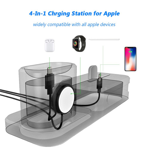 4 IN 1 Charging Dock Station for iPhone XR XS MAX X 8 7 6 6S Plus Apple Watch Airpods Silicone Charge Charger Stand Holder Mount