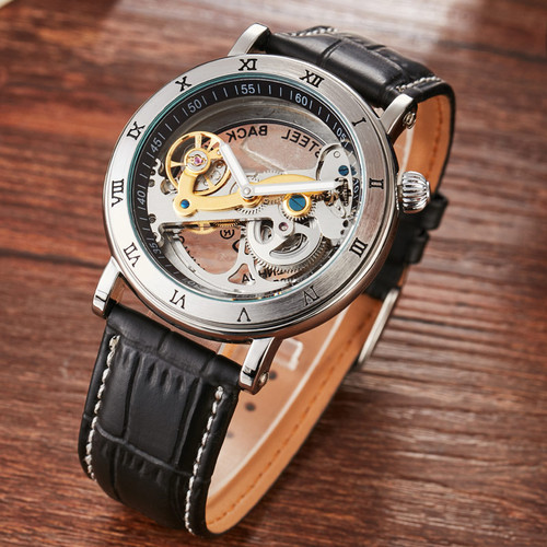 Men Automatic Watch Luxury Brand Roman Sculpture Dial Leather Band Mechanical Skeleton Transparent Leather Wristwatches Men Gift