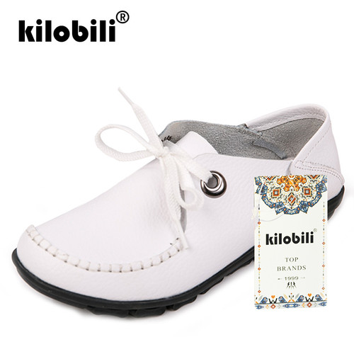 kilobili 2018 Spring women flats shoes women oxford lace up ballet flats moccasins White boat shoes ladies lazy loafers shoes