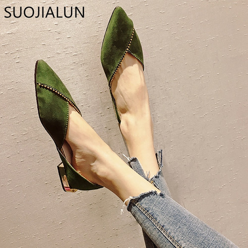 SUOJIALUN 2018 New Fashion Woman Flats Shoes Female Ballet Shoes Slip On Loafers Pointed Toe Casual Espadrilles Zapatos Mujer