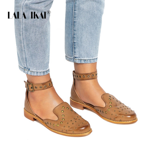 LALA IKAI Rivet Shoes Women Comfortable Platform Shoes Round Toe Buckle Strap Summer Flat Girls Shoes 014A0646 -3