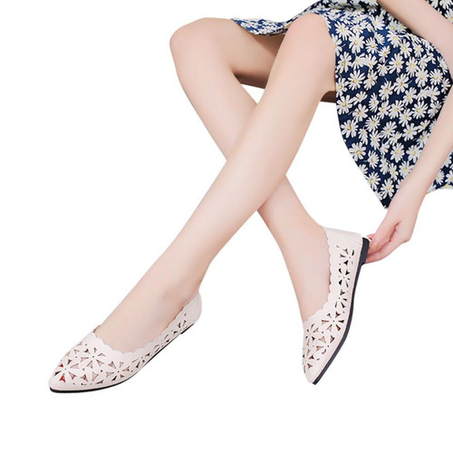 2018 New Arrival Women Flats Shoes Shallow Flat Heel Hollow Out Flower Shape Nude Shoes Pointed-toe Shoes zapatos mujer