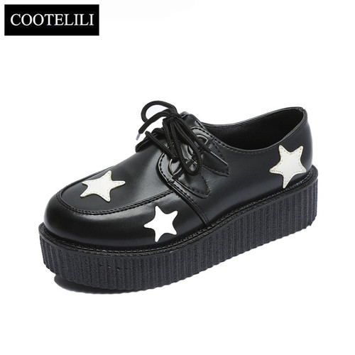 COOTELILI 35-39 Spring Solid Casual Women Shoes Flat Platform Lace-Up Creepers Ladies Shoes Round Toe Girls Shoes Plus Size40 41