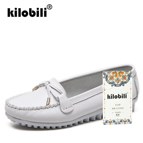 kilobili 2018 Spring Women Genuine Leather Ballet Flats Casual Shoes Round Toe Flats Slip On Loafers Casual Flats Boat Shoes