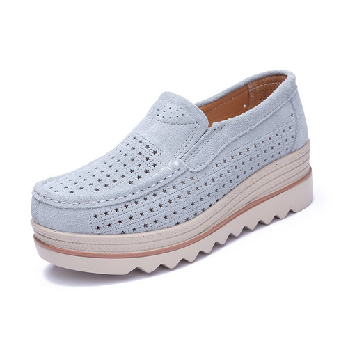 HANBINGPO 2019 Spring Women Flats Shoes Platform Sneakers Slip On Flats Leather Suede Ladies Loafers Moccasins Casual Shoes Women Creepers,3088Blue,9