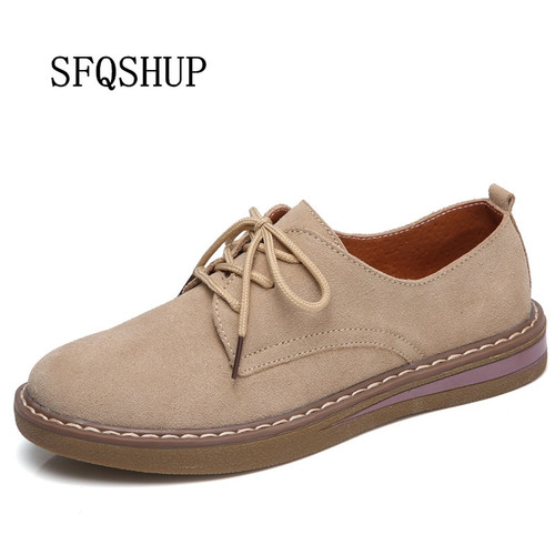 SFQSHUP  Women's Shoes Genuine Leather Oxford Mother Girls Lace Up Fashion Casual Shoes Women Sneakers Flats Moccasins Shoes