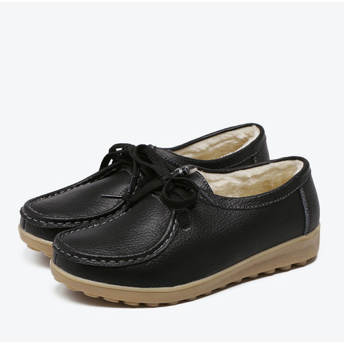 MCCKLE Women Casual Flat Platform Shoes Vintage Female Moccasins Winter Warm Lace Up Sewing Ladies Footwear British Style
