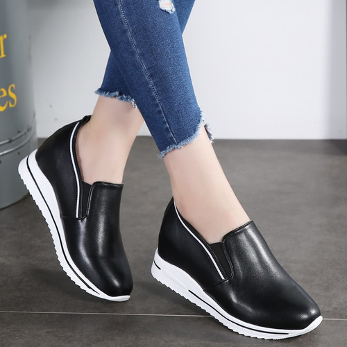 AODLEE Increasing Flat Shoes Women Sneakers Fashion Platform Casual Shoes Woman Genuine Leather Slip on Ladies Shoes White