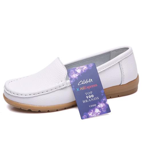 O16U 2018 Spring women flats genuine leather loafers shoes ballet flats shoes women slip on ballerina flats ladies footwear
