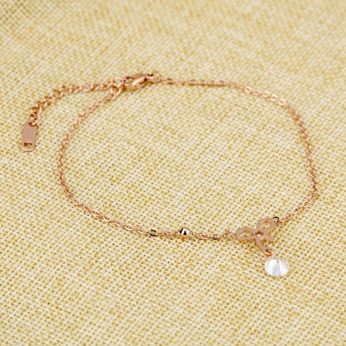Stainless Steel Bowknot Woman Anklets Inlaied Cubic Zirconia Extended Link Chain Rose Gold color Cute Jewelry Gift For Girls