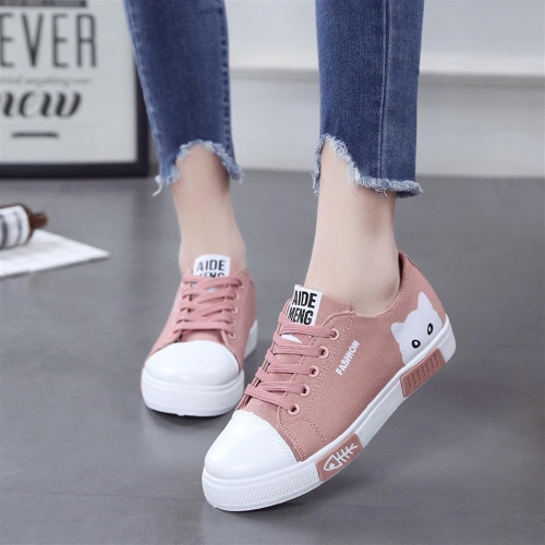 Spring Fall 2018 New Shoes Women Flats Lace-up Casual Canvas Shoes Women Breathable White Platform tenis feminino