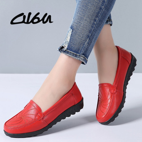 O16U 2018 Women Ballet Flats Shoes Genuine Leather Slip on Loafers Women Moccains Summer Shoes Black Casual Shoes Flat Ladies
