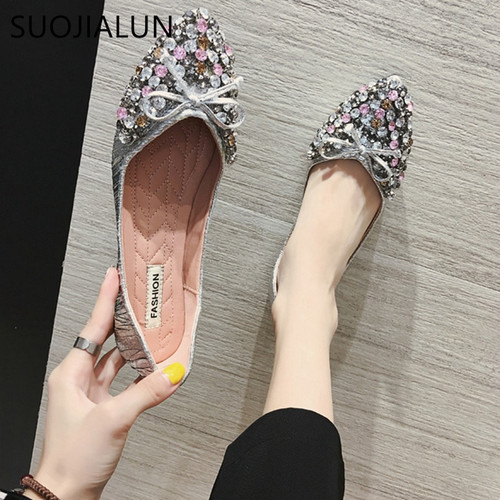 SUOJILAUN 2018 Brand Design Fashion Woman Flat Shoes Slip On Flats Handmade Shoes Loafers Flats Zapatos Mujer