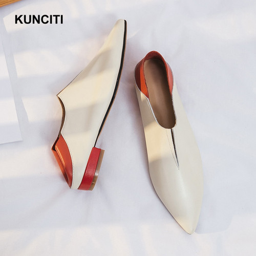 2018 KUNCITI Soft Leather Flat Loafers European Designer Ladies Moccasins Women Casual Shoes Genuine Leather Spring Mules F19