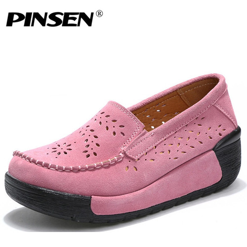 PINSEN Summer Women Casual Shoes Suede Leather Slip-On Women Flats Platform Shoes Woman Moccasins Loafers Shoes chaussures femme