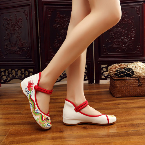 Weowalk Handmade Cotton Ballet Flats Chinese Dragon Embroidery Women's Old Beijing Shoes Casual Breathable Driving Shoes