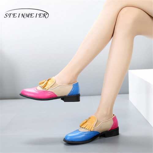 100% Genuine cow leather brogue casual designer vintage lady flats shoes handmade oxford shoes for women red blue yellow fur