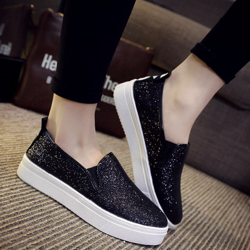 2018 Bling Women Loafers Spring Sequined Cloth Platform Flat Shoes Ladies Slip On Woman Slipony Creeper Flats Casual Shoes 051