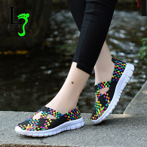2018 Fashion Womens Shoes Summer Sneakers Mixed Color Flats Breathable Casual Shoes Loafers Comfortable Mother Shoes Size 35-42