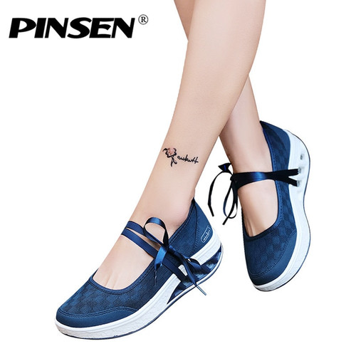 PINSEN 2019 Sneakers Flat Platform Women Shoes Slip On Casual Ladies Flats Loafers Shoes Woman Moccasins creepers zapatos mujer