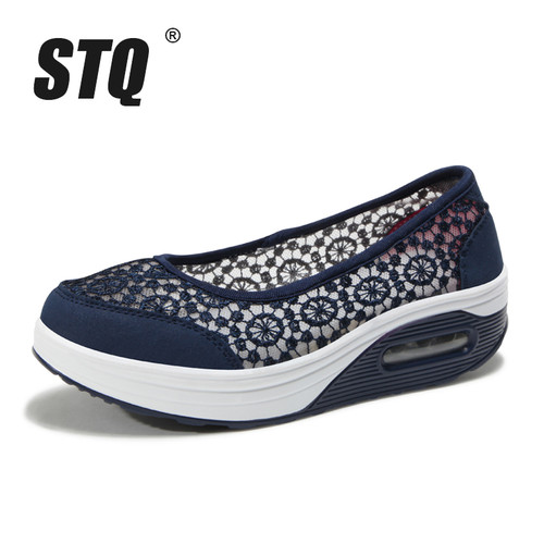 STQ 2019 Summer women flat platform shoes women breathable mesh casual sneakers shoes ladies slip on sneakers shoes 1618